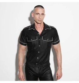 Policeshirt black with white piping