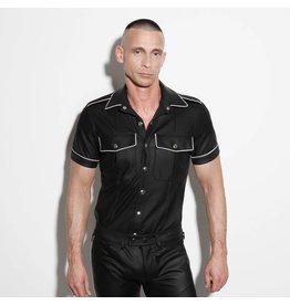 Uniformhemd zwart met witte bies