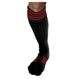 RoB Boot Socks Black with Red Stripes