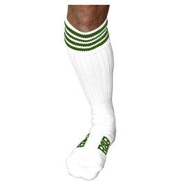 RoB Boot Socks wit met groene strepen