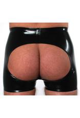 RoB Gummi Horny Fucker Shorts mit Reißverschluss, offenem Arsch und roten Streifen