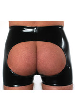 RoB Rubber horny fucker shorts met rits, open kont en rode strepen