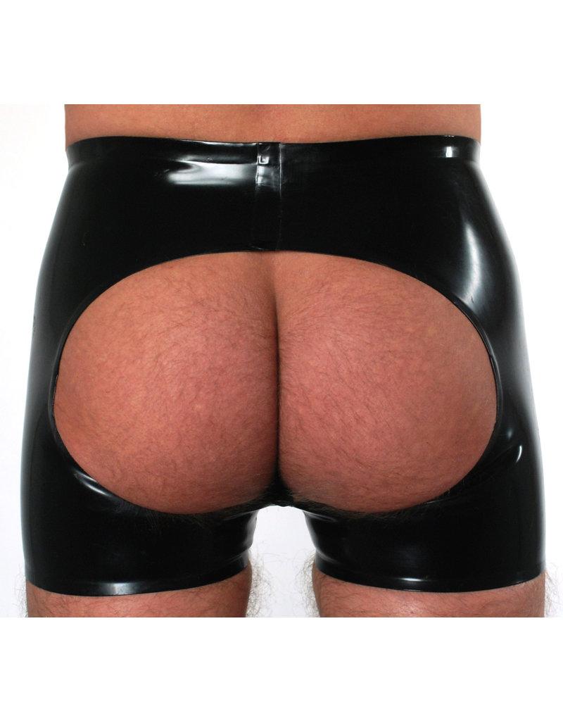 RoB Gummi Horny Fucker Shorts mit Reißverschluss, offenem Arsch und gelben Streifen