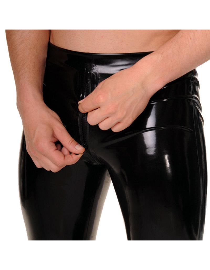RoB Gummi Legging mit durchgehender Reißverschluss und schwarzen Streifen