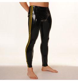 RoB Rubber legging met doorlopende rits en gele strepen