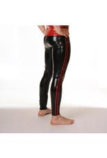 RoB Rubber legging met doorlopende rits en rode strepen