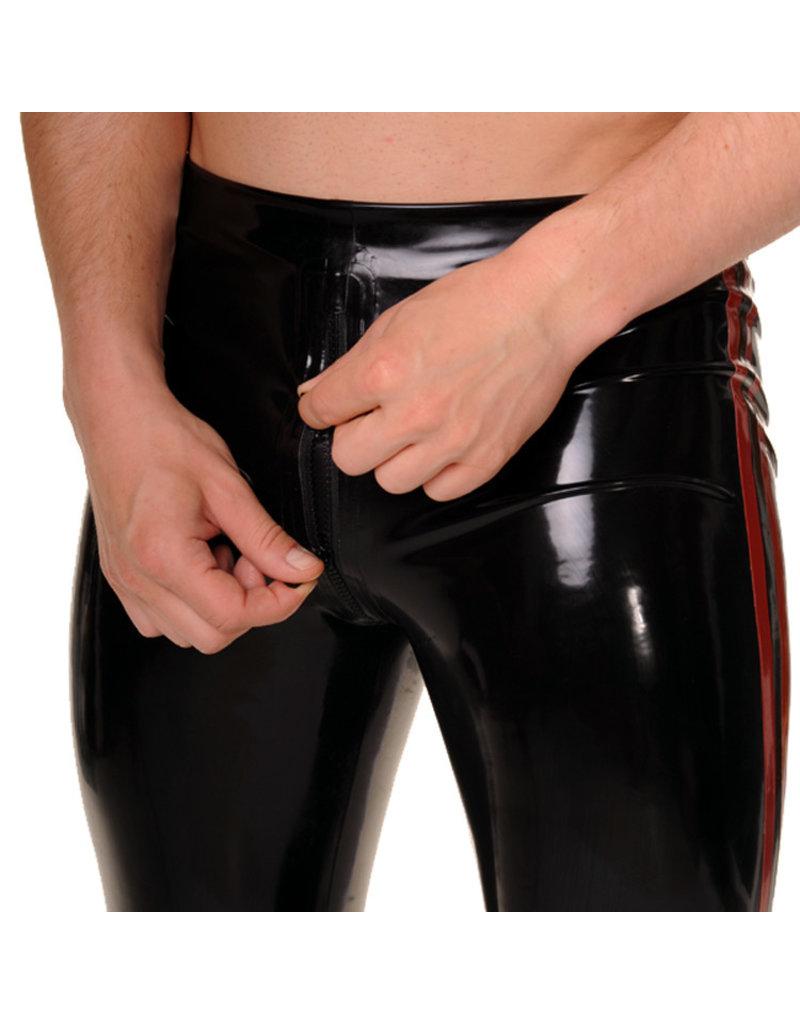RoB Gummi Legging mit durchgehender Reißverschluss und roten Streifen
