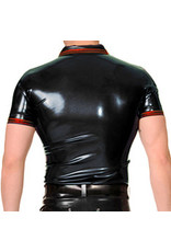 RoB Rubber polo shirt met rode strepen