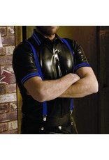 RoB Rubber polo shirt met blauwe strepen