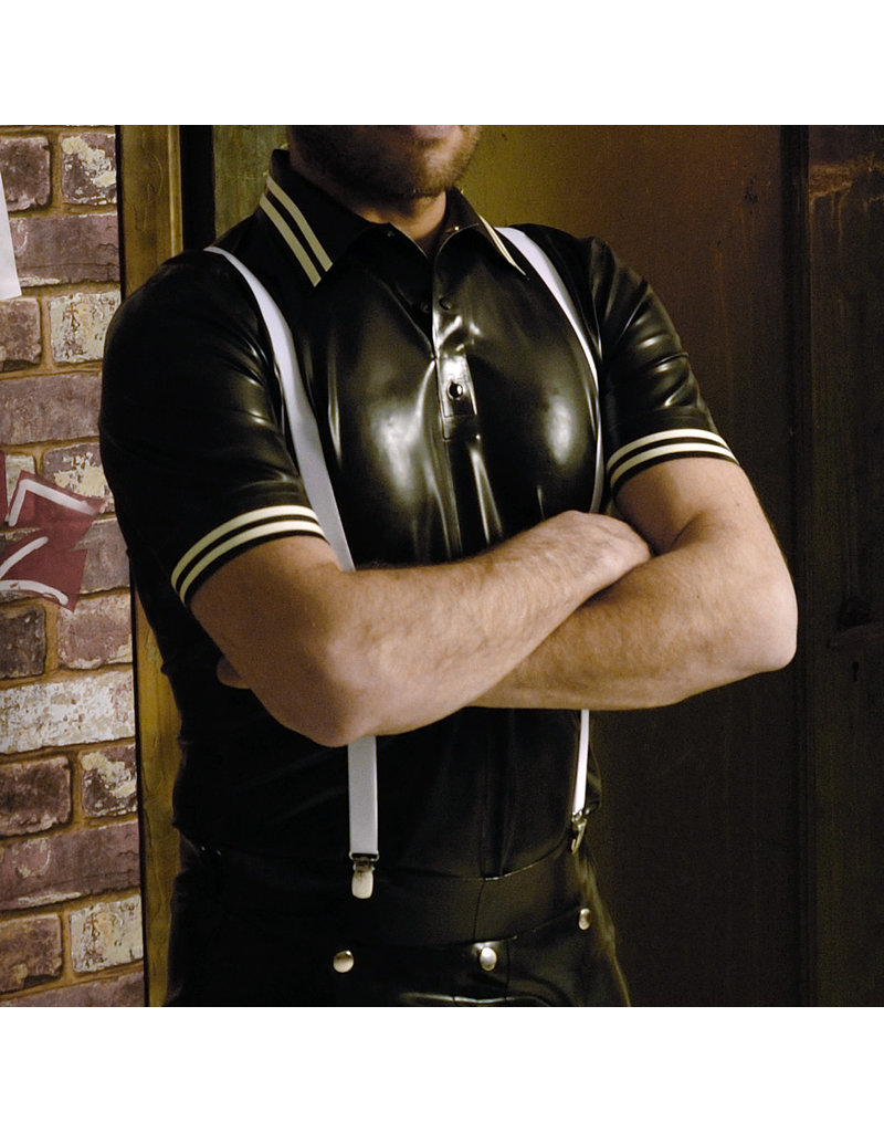RoB Rubber polo shirt met witte strepen