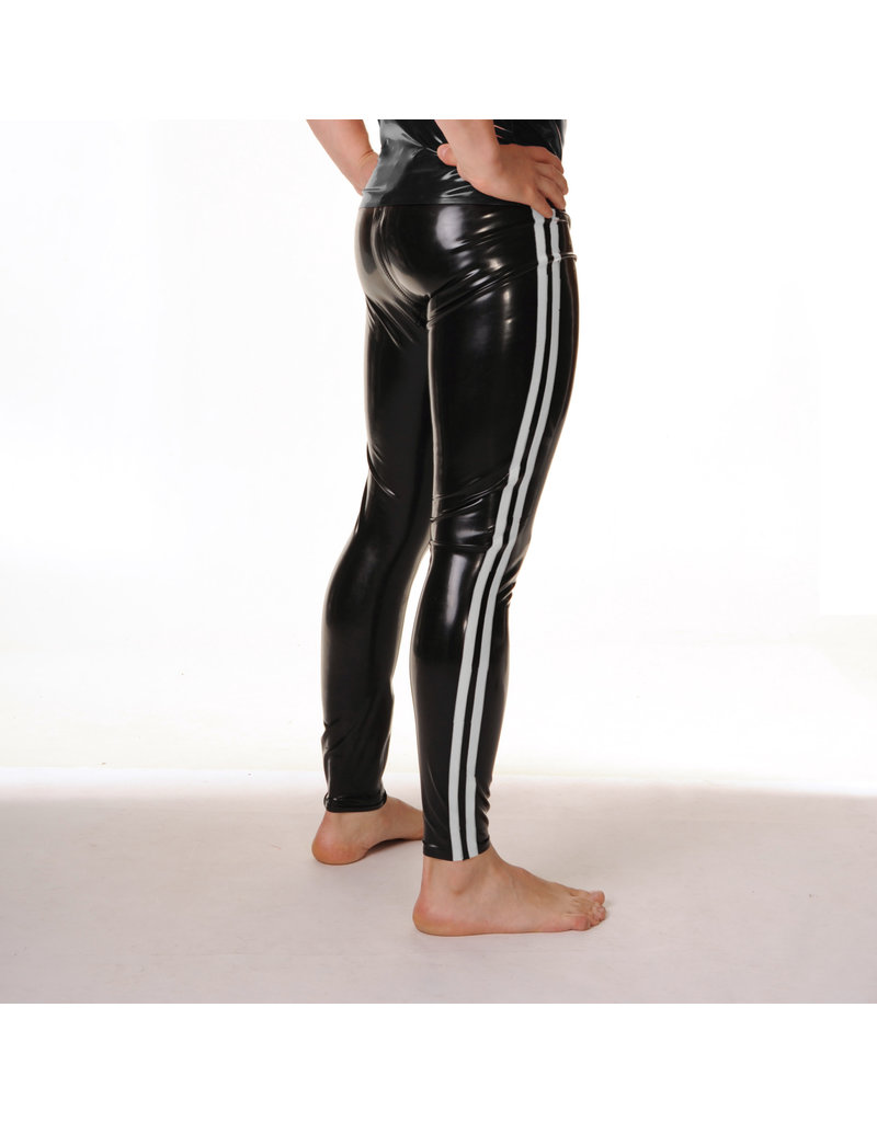 RoB Rubber legging met doorlopende rits en witte strepen