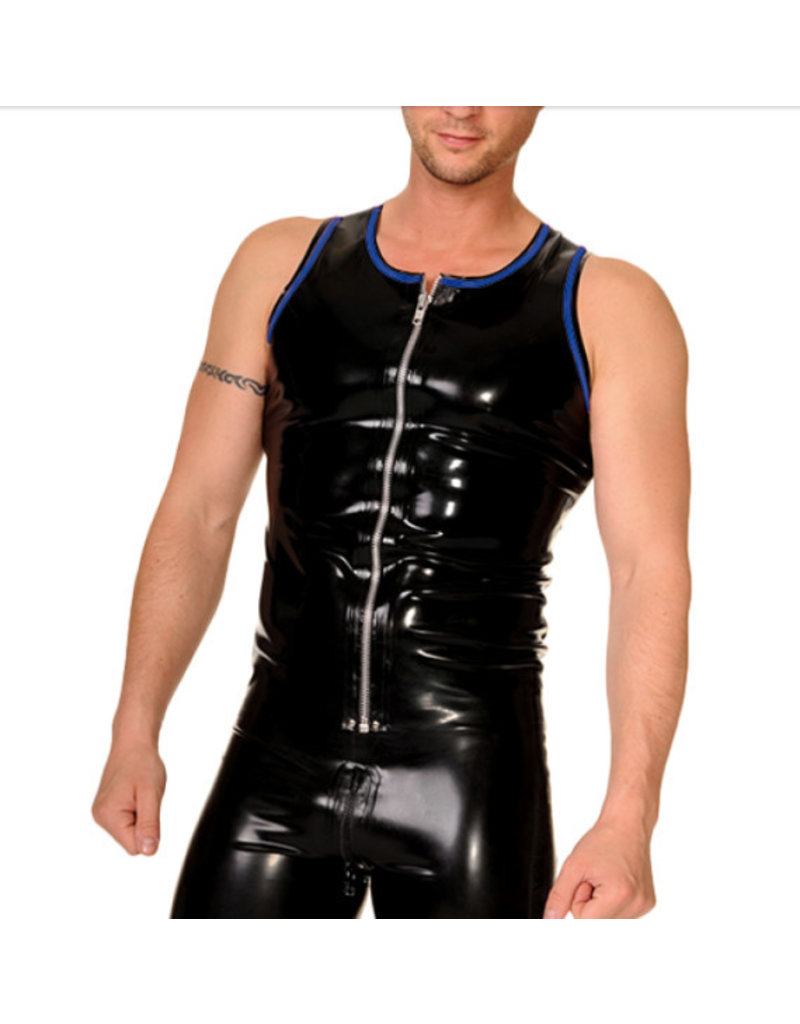 RoB Rubber vest with front zip and blue trim