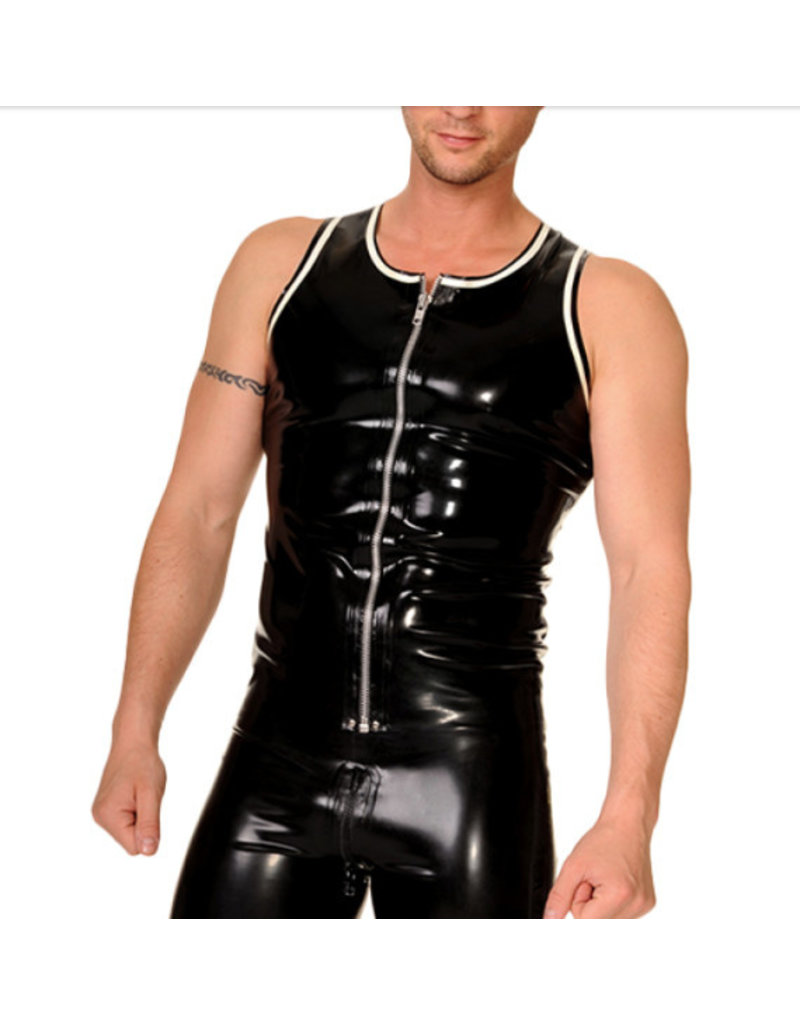 RoB Rubber vest with front zip and white trim