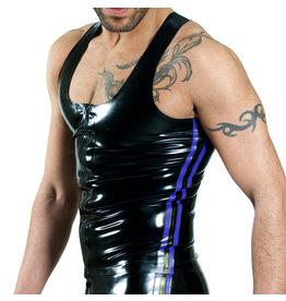 RoB Gummi Y-Rücken Singlet mit Reissverschluss und blauen Streifen