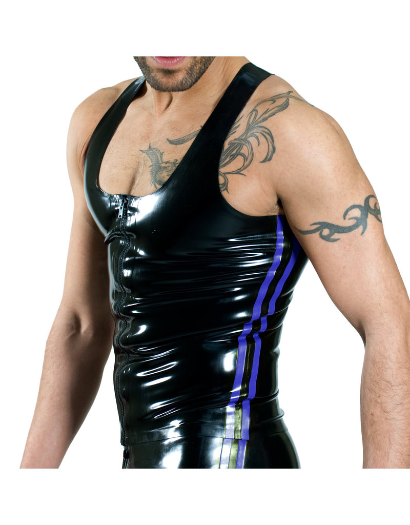 RoB Rubber Y-back singlet with front zip and blue stripes