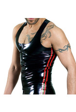 RoB Rubber Y-back singlet with front zip and red stripes