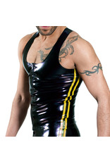 RoB Rubber Y-back singlet with front zip and yellow stripes