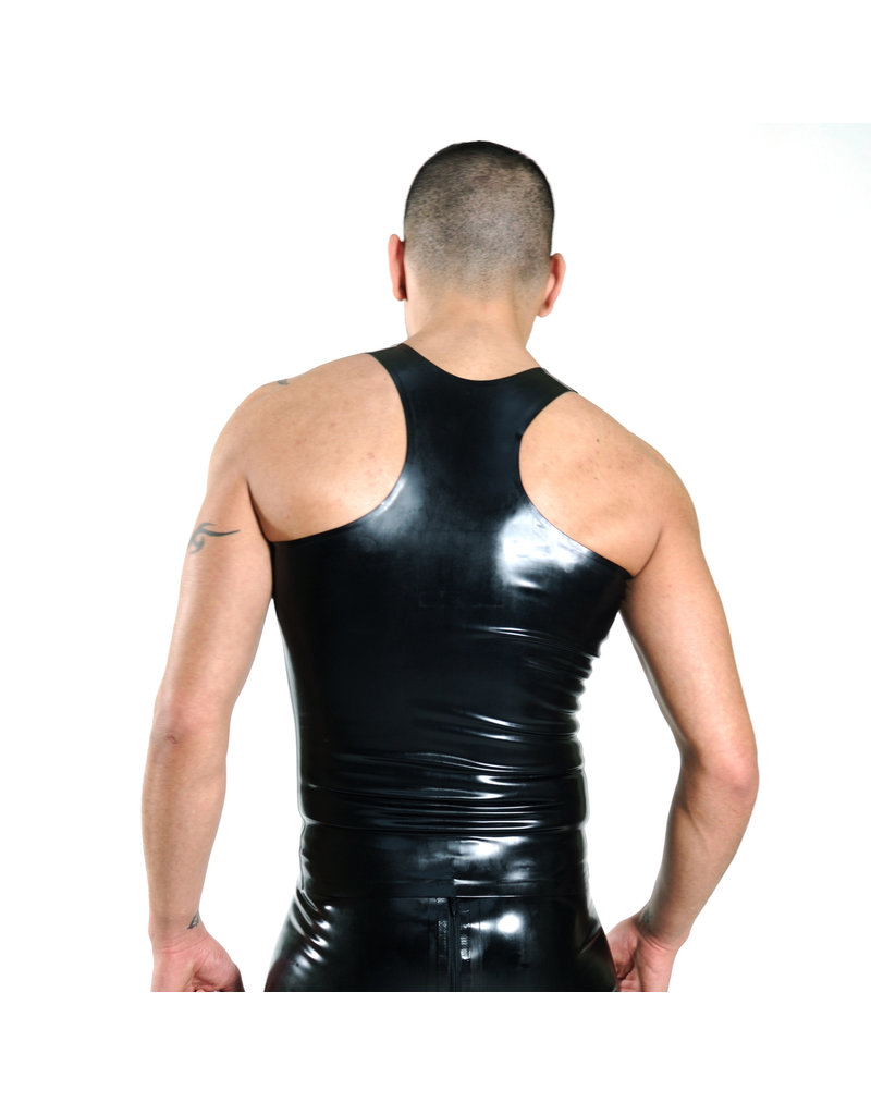 RoB Rubber Y-back singlet met rits en gele strepen