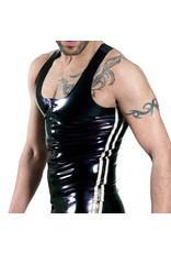 RoB Rubber Y-back singlet with front zip and white stripes