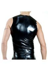 RoB Rubber sleeveless shirt with front zip and blue stripes