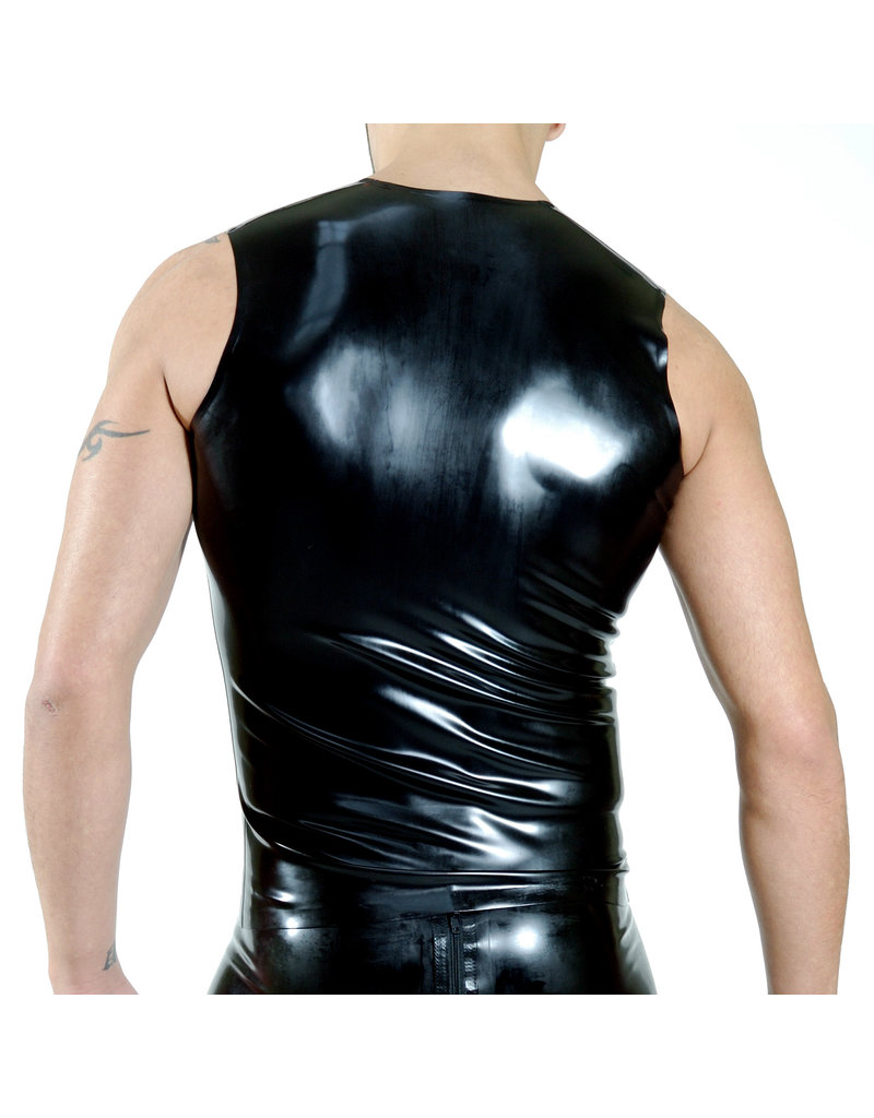 RoB Rubber sleeveless shirt with front zip and yellow stripes