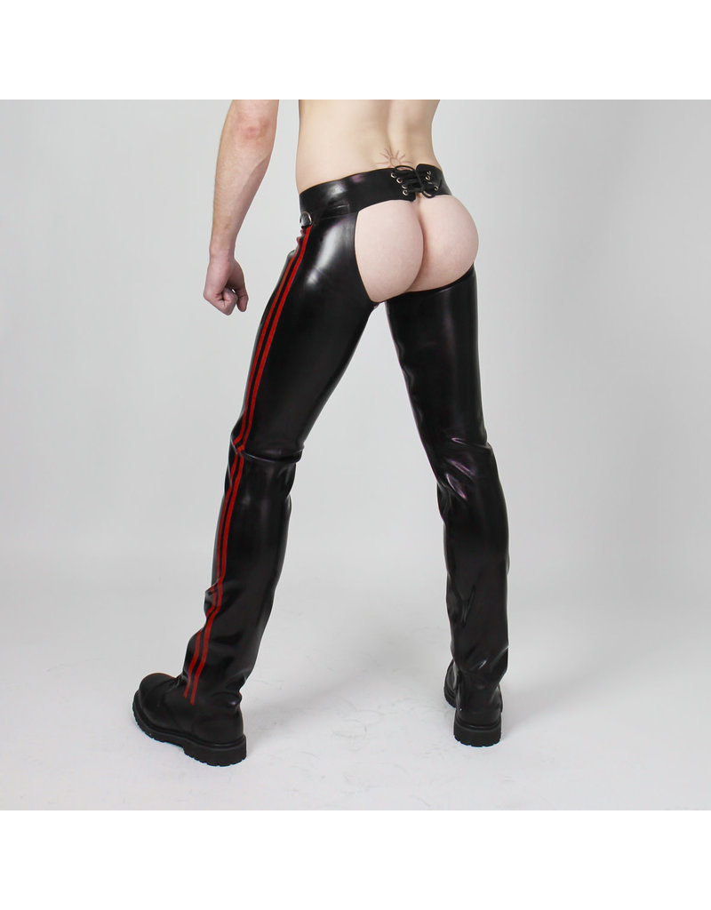 RoB Rubber Chaps with red stripes