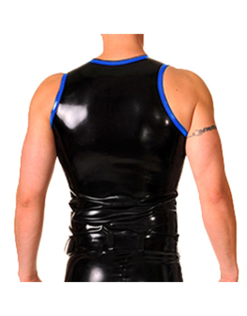 RoB Gummi Weste mit Reißverschluss und blauem Rand