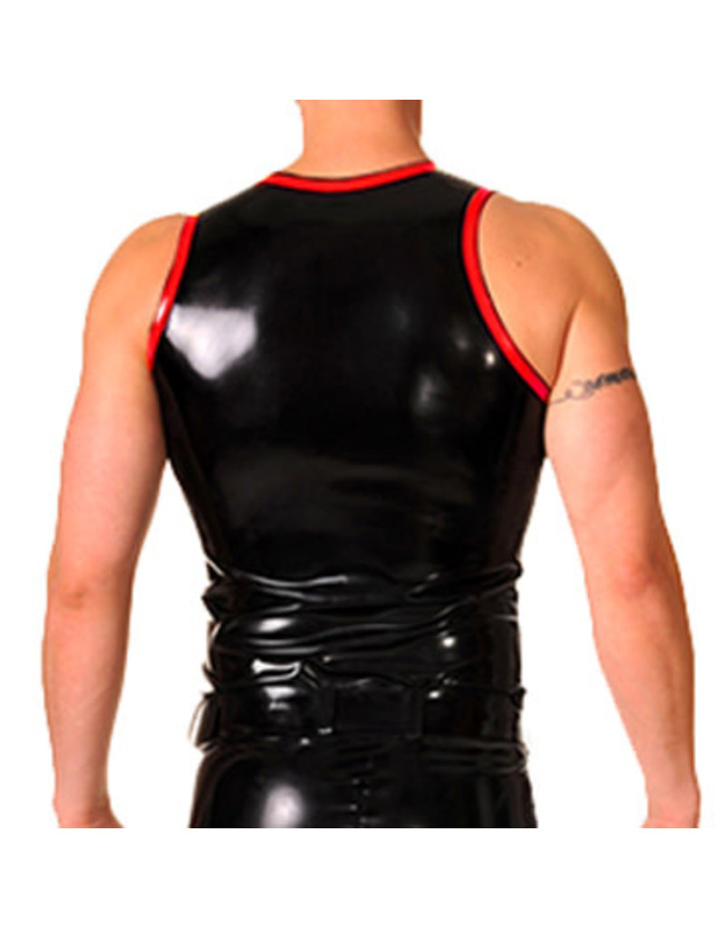 RoB Rubber vest with front zip and red trim