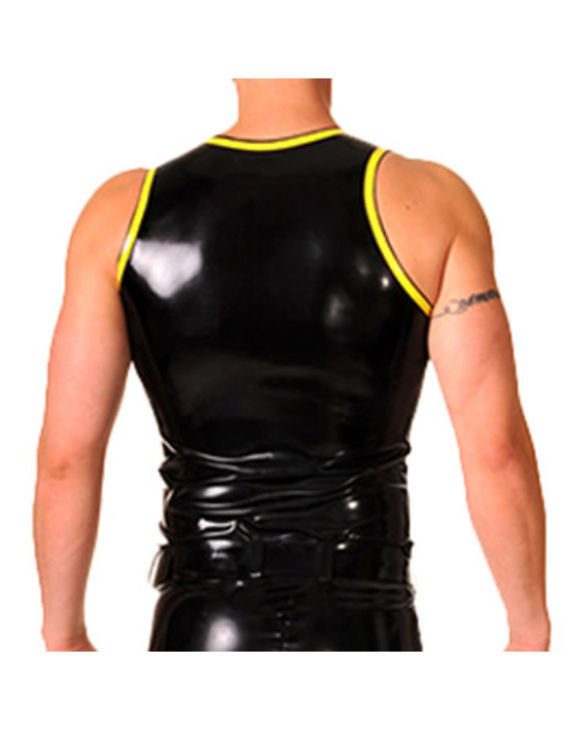 RoB Rubber vest with front zip and yellow trim