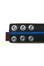 RoB Leather Bicepsband Black 50 mm wide with Blue Piping and Press Studs
