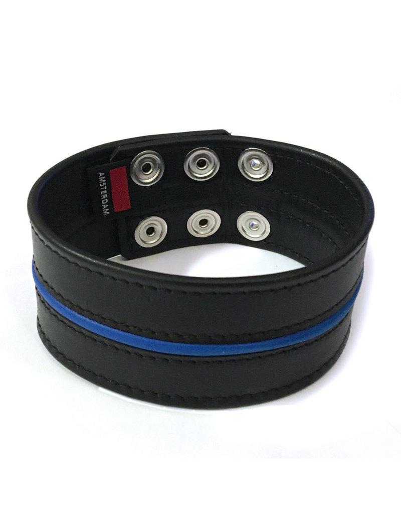 RoB Leren bicepsband 50 mm breed zwart/blauw met drukknopen