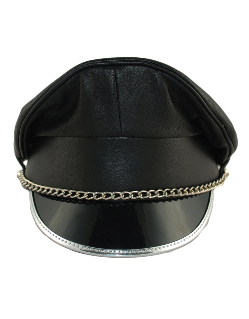 RoB Leather Military Cap, Silver Trim, Silver Chain