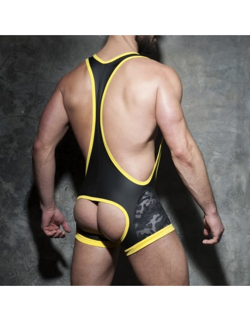 Addicted Camo mesh open singlet yellow