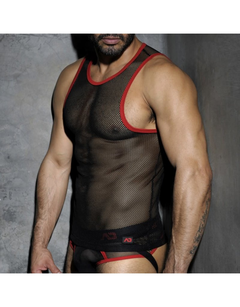 Addicted Fetish mesh tank top black/red