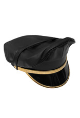 RoB Leather Military Cap, Gold Trim, Extension Strap