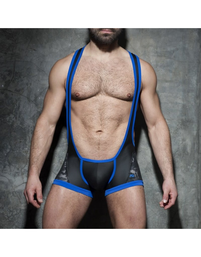 Addicted Camo-Mesh Singlet Blue