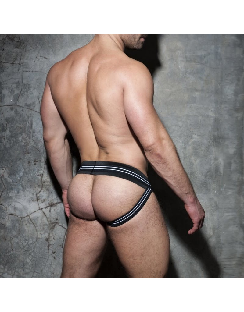 Addicted Double Stripe Jock White/Black waistband