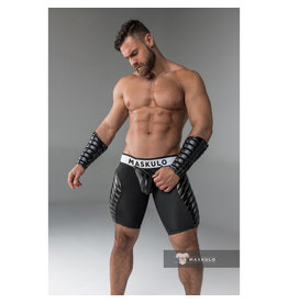 Maskulo Fetish Shorts with codpiece & thigh pads black