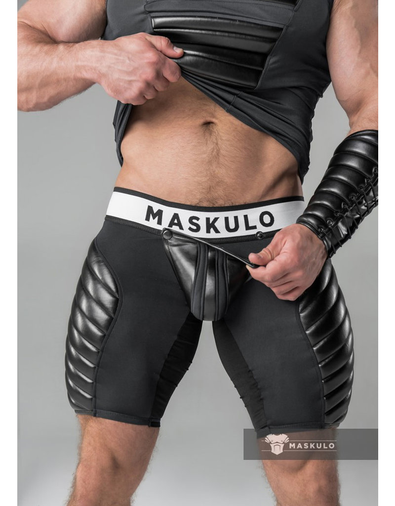 Maskulo Fetish Shorts with codpiece, back zip & thigh pads black