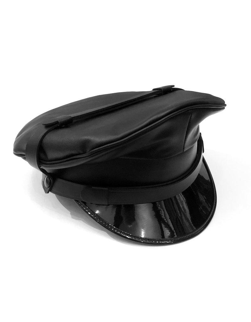 RoB Leren militaire pet zwarte tuigleren stormbanden