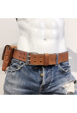 RoB Leather belt 5 cm double buckle brown