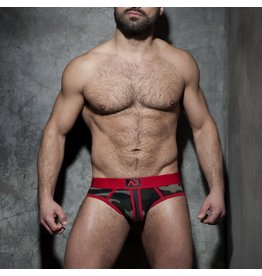 Addicted Camo stripe fetish brief red