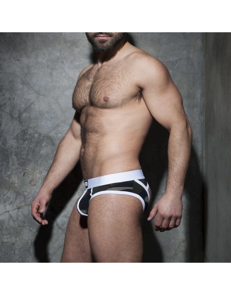 Addicted Camo stripe fetish brief white