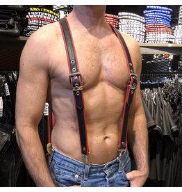 RoB Leren bretels 3,1 cm breed met klip, zwart/rood