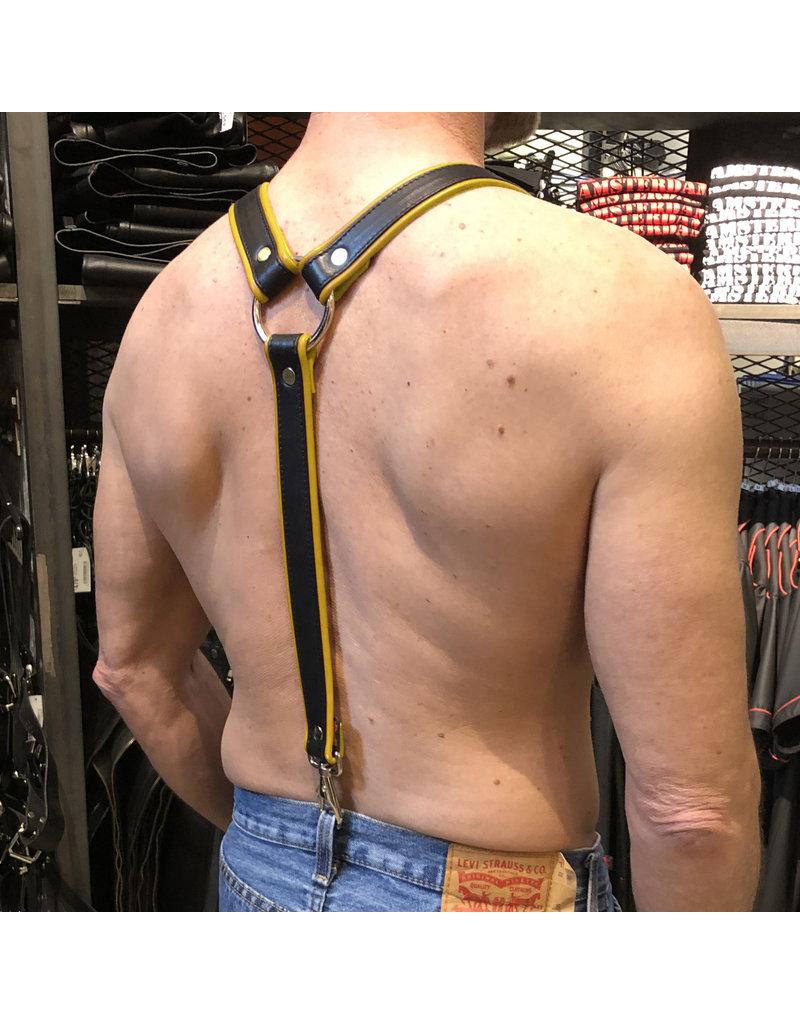 RoB Leren bretels 3,1 cm breed met klip, zwart/geel