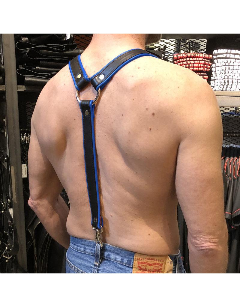 RoB Leder Hosenträger 3,1 cm breit mit Clip, schwarz/blau