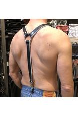 RoB Leder Hosenträger 3,1 cm breit mit Clip, schwarz/weiß