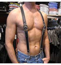 RoB Leder Hosenträger 3,1 cm breit mit Clip, schwarz/grau