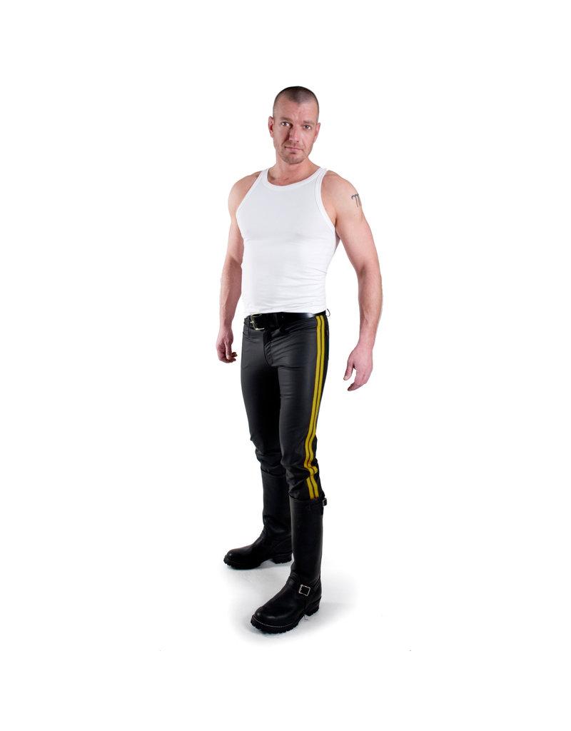 Jeans met 2 gele strepen
