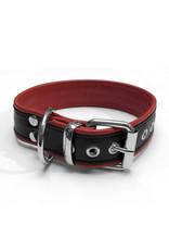 RoB Leder Sklavenhalsband 1 D-Ring schwarz/rot medium
